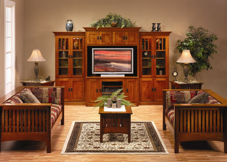 Apple creek furniture for Mission style entertainment center plans